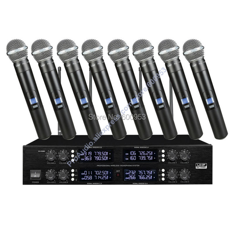Pro MICWL T88 UHF Digital Wireless 8 Handheld Microphones System 8x50 Channel adjustable micwl d400 uhf 4 gooseneck table uhf wireless conference microphones digital system for big meeting room