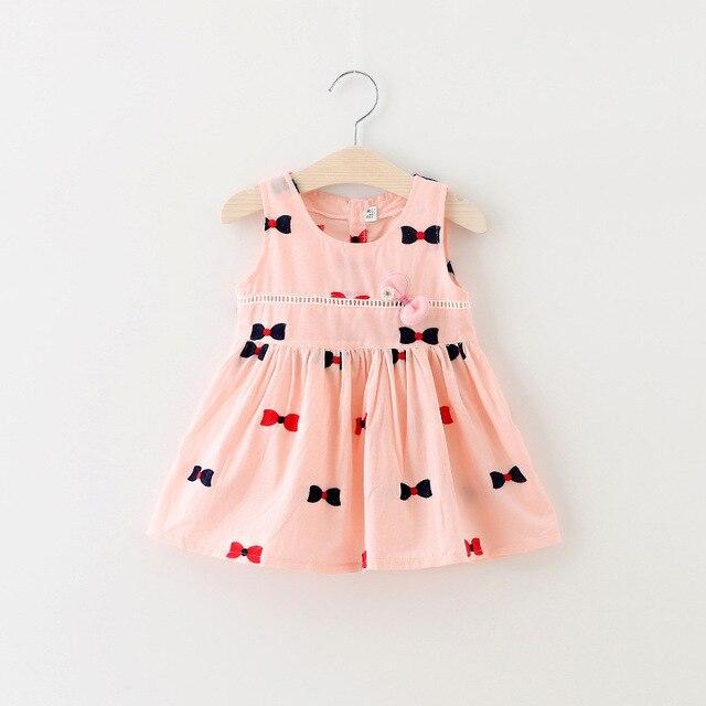 Las niñas se Visten Nuevos 2017 Ropa de Verano Estilo de La Manera del bebé vestidos de Algodón niños Lindos Vestidos bordado Arco niño Vestido ...