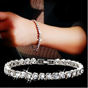 New 2016 crystal zircon bracelet female fashion lovers 925 sterling silver ladies`bracelets jewelry wholesale birthday gift