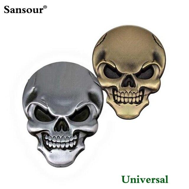 Populer 3d 3 m skull skeleton crossbones iblis skull kepala logam emblem sticker badge logam setan