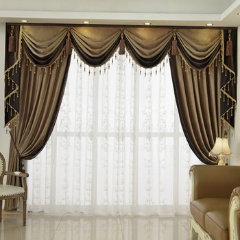 ALITEXTILEBTOC Tassels Bead Curtains For Living Room Floral Panel Drapery Plus Size Curtains Wave Hesdings Velvet Scarf Valance