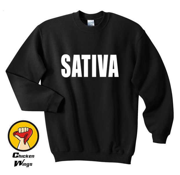 Sativa Erbaccia Felpa Cannabis Marijuana Pantaloni a Vita Bassa di Amore Dope Swag High Tumblr Regalo Regalo Felpa Più di Formato E Colors-B056