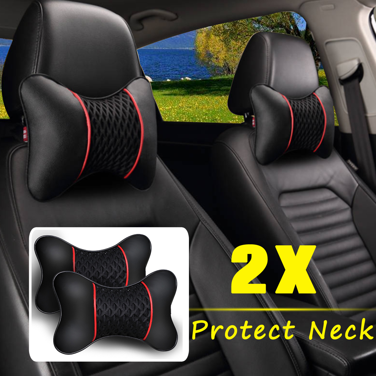 2Pcs PU Leather Knitted Car Pillows Headrest Neck Rest Cushion Support Seat Accessories Auto Black Safety Pillow Universal Decor2Pcs PU Leather Knitted Car Pillows Headrest Neck Rest Cushion Support Seat Accessories Auto Black Safety Pillow Universal Decor