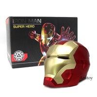 Iron Man Casco Da Motociclista Cosplay Maschera per Adulti di Rilevamento Tattile maschera con Luce A LED Super-Eroe della Serie Bambola 1:1 Alta qualità