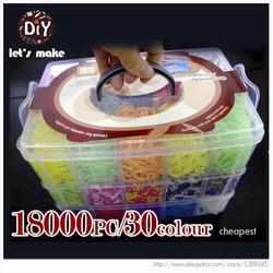 Laten we 18000 stuks Hoge Kwaliteit Rubber Fun Loom Bands Kit Kids DIY Gom Armbanden 3 Layer PVC DOOS familie Weefgetouw Kit Set
