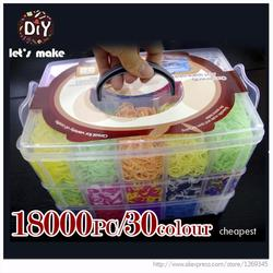 Let's Make 18000pcs High Quality Rubber Fun Loom Bands Kit Kids DIY Gum Bracelets 3 Layer PVC BOX Family Loom Kit Set