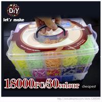Let's Make 18000pcs High Quality Rubber Fun Loom Bands Kit Kids DIY Gum Bracelets 3 Layer PVC BOX Family Loom Kit Set