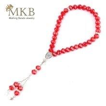 33 różaniec islamskiej muzułmański tasbih 10mm szlifowane czerwone kryształowe koraliki różaniec bransoletki dla kobiet mężczyzn codzienna modlitwa biżuteria