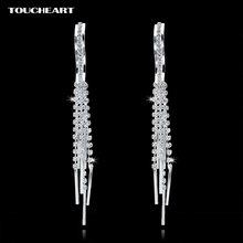 Женские серьги гвоздики с кристаллами toucheart Серебристые