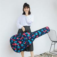 40 /41 Inch Tartan Printed Folk Acoustic Guitar Case Gig Bag Double Straps Canvas Pad 10mm Cotton Thickening Waterproof Backpack