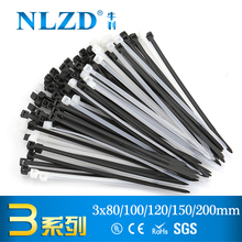 1000(500)pcs Black Self Locking Cable Tie High Quality Nylon Fasten Zip Wire Wrap Strap 3x100mm 3*80 3×120 3*150 3X200 plastic