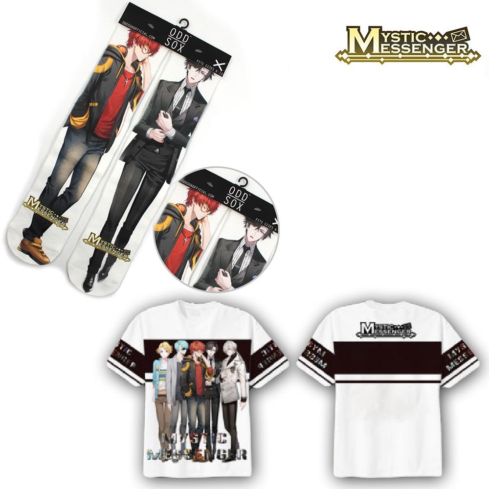 OHCOMICS 2PCS Hot Game Mystic Messenger 707 Junmin Handsome T-shirt+Socks Tee Tops Stockings Hose Tight Costume Clothing Set