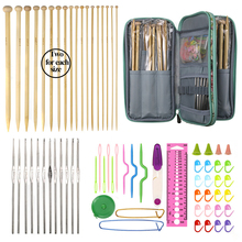 36pcs Bamboo Straight Knitting Needles 12pcs Small Lace Crochet Hooks Set Scissors Rulers Sewing Accessories With Flower Bag