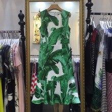 Новый 2017 Весна-осень Модные женские элегантные пикантные оболочка русалка платье Banana Leaf Print миди без рукавов до середины икры повседневные платья