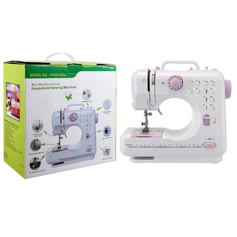 Mini 12 points Machine à coudre ménage multifonction Double fil et vitesse Machine à coudre à bras libre