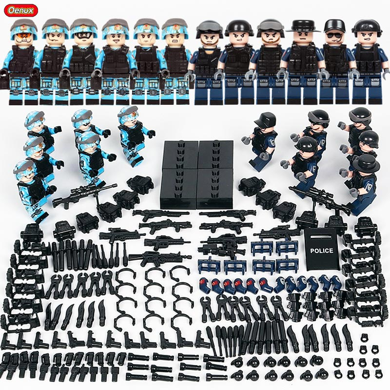 Oenux 12 piezas figuras de policía de la ciudad con armas modelo bloque de construcción de ladrillo moderno SWAT soldados de policía ensamblando ladrillo niños juguete