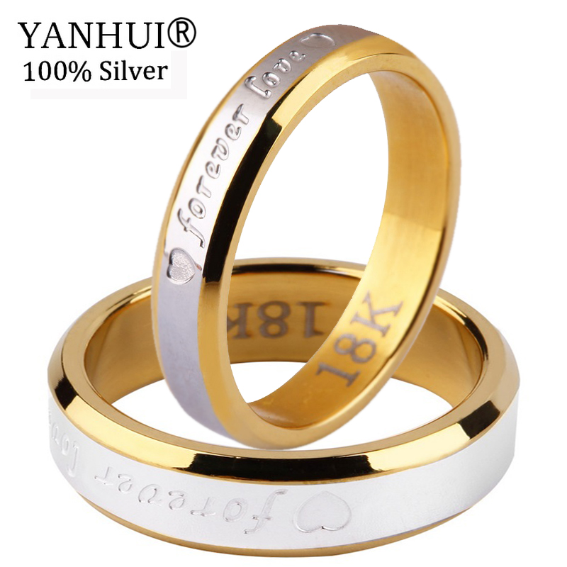 YANHUI Couple Romantic Rings Gift For Men and Women Authentic Solid 925 Silver & Gold Forever Love Engagement Ring Jewelry LR096 gold and silver forever love steel couple ring for men 8 size