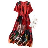 Hot Sale Indie Folk 100% Silk Woman Print Dress Lady Gown V Neck Short Sleeve Ankle Length A Line Female Summer Women Dress XL