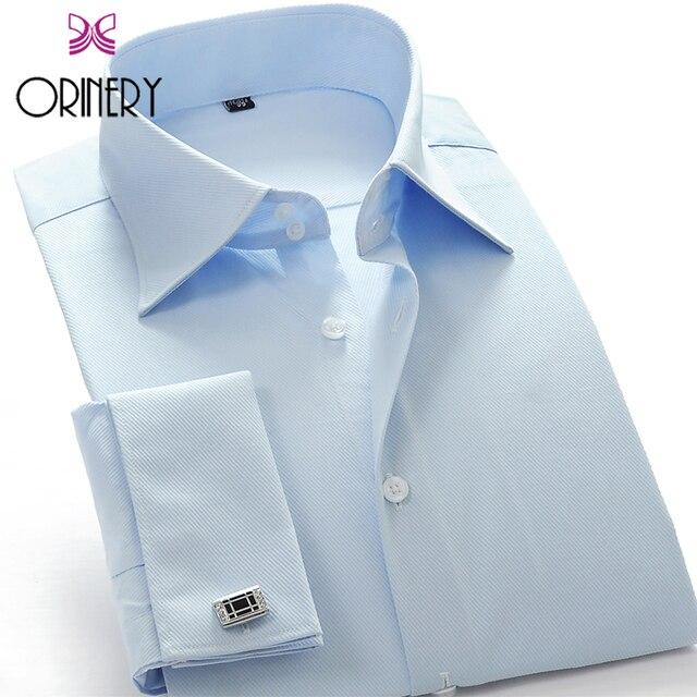 ORINERY Размер S-4XL Рубашки Высокого Качества Для Мужчин С Длинным Рукавом Твердые Манжетой Рубашки с Запонки Марка Camisa Masculina