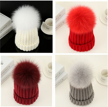 DXHKDYZ parent and child autumn and winter warm hat real fur fox fur hair ball hat knitting children wool hat female
