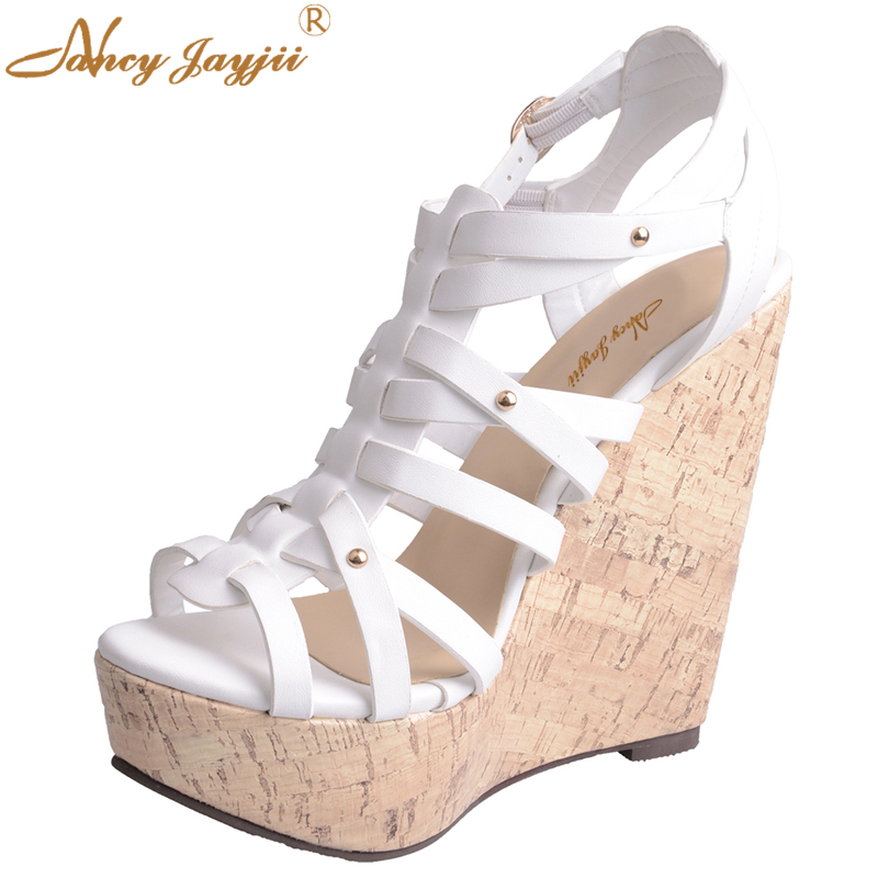 White Gladiator Wedding Sandals White Leather Open Toe High Heels Wedges Platform Sandals Shoes Woman Dress Shoes Nancyjayjii phyanic 2017 gladiator sandals gold silver shoes woman summer platform wedges glitters creepers casual women shoes phy3323