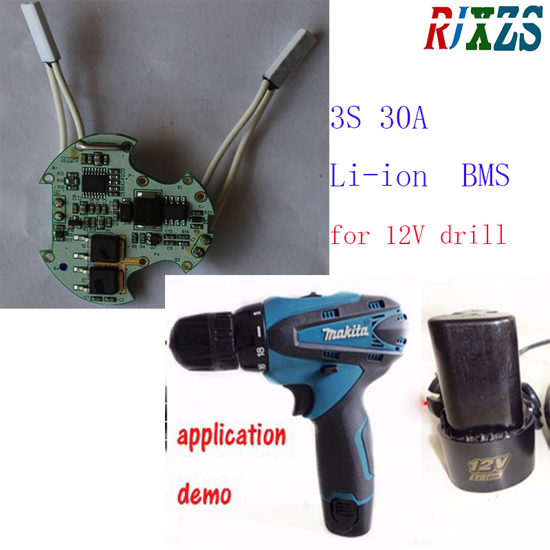 US $8.26 5% OFF|3S 30A 12V electric drill driver BMS/PCM 18650 li ion on