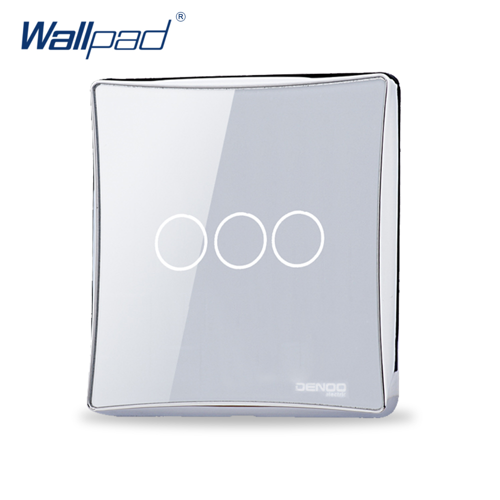 Free Shipping Wallpad Luxury Black/White Crystal Glass Switch Panel Touch Screen Wall Light Switch Backlight LED 3 Gang 1 Way eu 1 gang wallpad wireless remote control wall touch light switch crystal glass white waterproof wifi light switch free shipping
