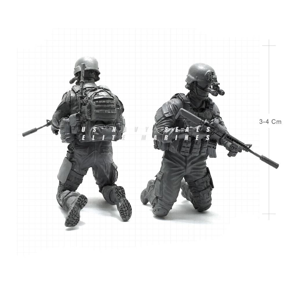 1/35 Modern U.S Navy Seals Elite Marines Sharpshooter 2 Military Soldier Resin Model Figure NAI-09