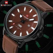 Mode Marque NAVIFORCE Sport Montres Hommes de Quartz Lumineux Mains Horloge En Cuir Militaire Montre-Bracelet Relogio Masculino Relojes