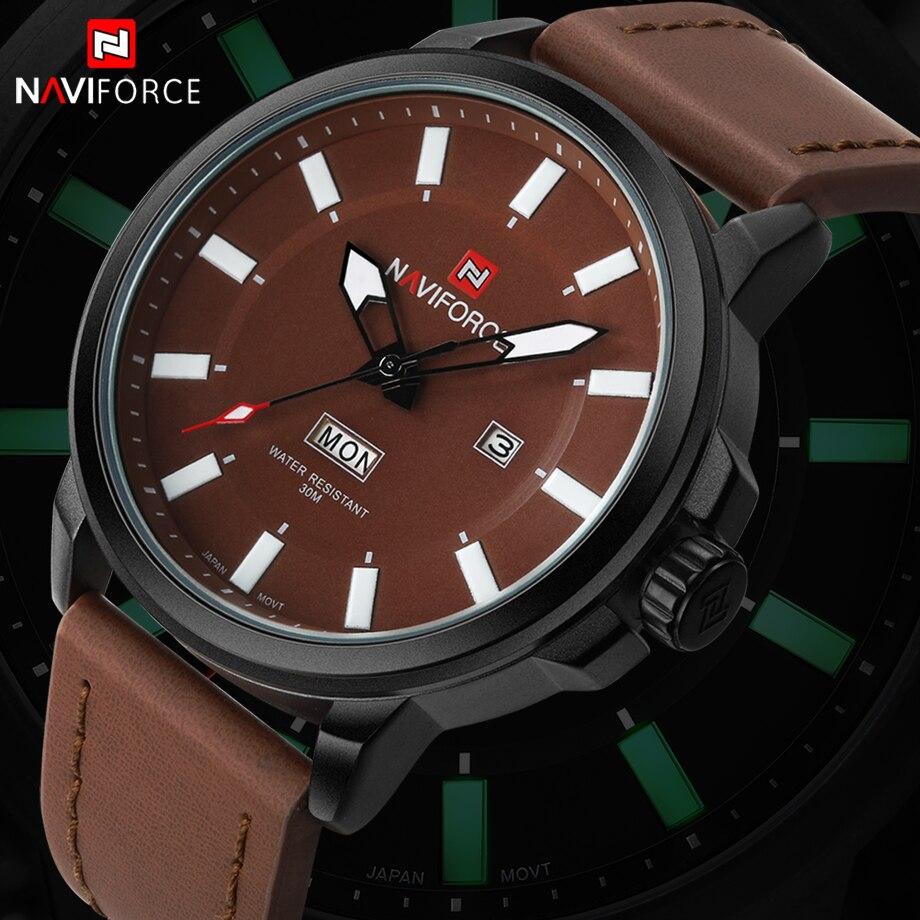 Prix pour Mode Marque NAVIFORCE Sport Montres Hommes de Quartz Lumineux Mains Horloge En Cuir Militaire Montre-Bracelet Relogio Masculino Relojes
