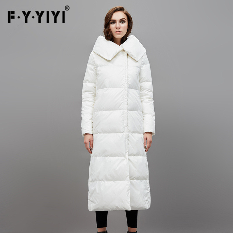 kaban abrigo plumas mujer Pillow collar Europe and the United States long straight down type of white duck down jacket female