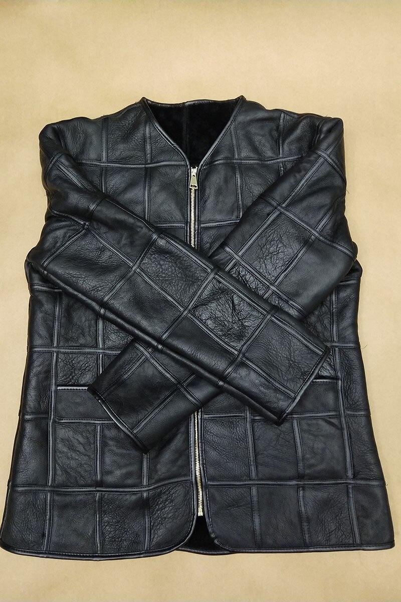 HTB1jwz X.GF3KVjSZFoq6zmpFXaS Winter warm men's fur one sheep shearing leather plaid outdoor cotton coat leather jacket thick warm skin