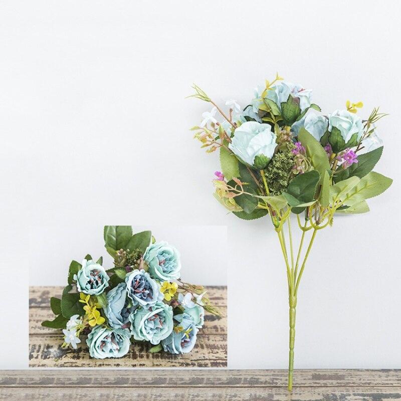 Поддельные цветы 5 филиалов 8 голов искусственные цветы розы 1 шт. букет офисные обеденный стол украшение дома