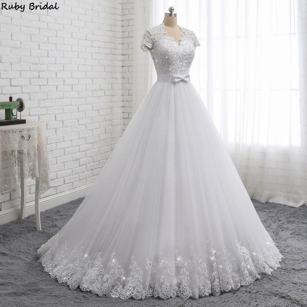 Ruby Bridal 2019 Elegant Vestido De Noiva Short Sleeve Ball Gown Wedding Dresses White Tulle Appliques