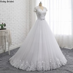 Ruby Bridal 2019 Elegant Vestido De Noiva Short Sleeve Ball Gown Wedding Dresses White Tulle Appliques Beaded Bridal Gown PW1902 1