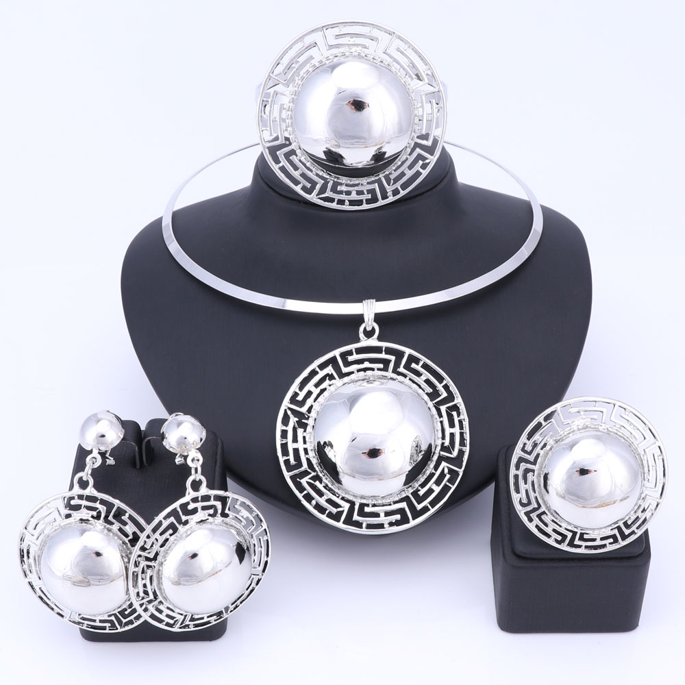 Wedding Bridal Jewelry Sets For Women Necklace Bracelet Earrings Rings Gold Color Dubai African Beads Statement Accessories 4