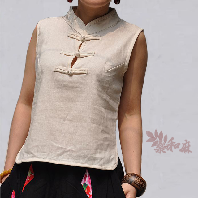 Chinese style white linen tang suit  stand up collar button shirt linen blouse