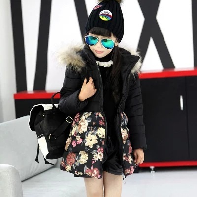 Fashion Children Girls Winter Coat Floral Fur Collar Jackets For Girls 5-10 Years Kids Warm Outerwear Black Thick Girls Parka