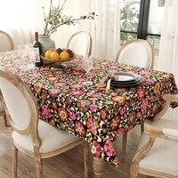 Nina European Style Garden House Flower Printed Cloth Canvas Fabric Table Cloth