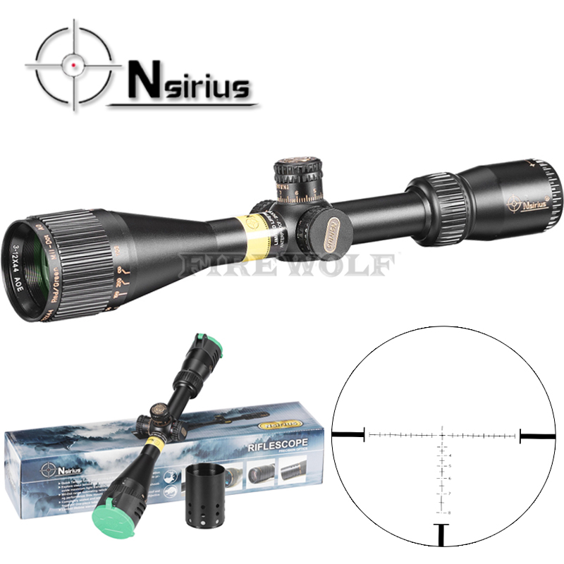 Здесь можно купить  NSIRIUS Tactical 3-12x44 AO Riflescope Optical Sight Full Size Mil Dot Red Green Llluminate Hunting Rifle Scope  Спорт и развлечения