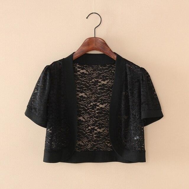Wraps Jackets 2019 Women Ladies Short Sleeve Cropped Shrug White Black Lace Accessories Jacket V Neck 4