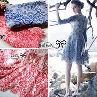 Quality Beautiful Eyelash Lace Fabric For Dress Skirt Red And Blue French Lace Fabric