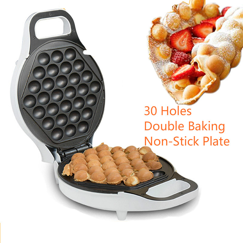 JZ117 home Electric Egg Bubble Waffle-Maker 30 Holes Double Baking Non-Stick Plate 220V Waffle Making Machine English manual brand new non stick electric waffle maker mini egg waffle machine kitchen appliances manual multifunction household roaster