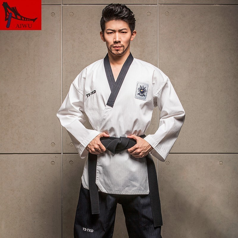 Martial Arts TKD Tae Kwon Do V-neck  Taekwondo Clothes For Poomsae & Training,WTF Uniform,160-190cm Red,black,blue