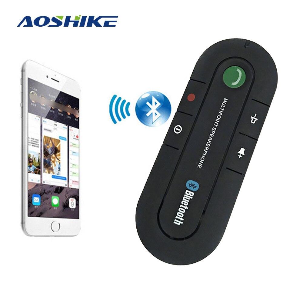 AOSHIKE Espelho Kit Mãos Livres Bluetooth Car Kit Sem Fio Bluetooth Speaker Telefone MP3 Music Player pala de Sol Clipe Speakerphone