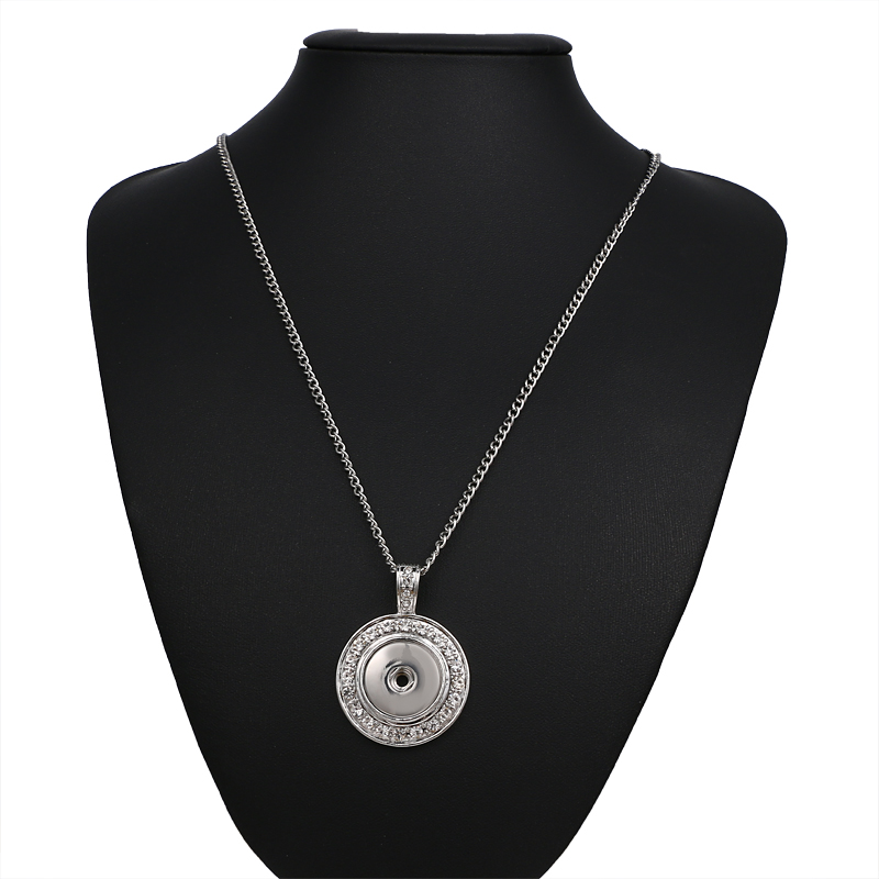 3pcs/lot New fashion Snap Jewelry Round Crystal 12mm Snap Button Necklace Pendant Mini Snap Pendant Necklace Choker image
