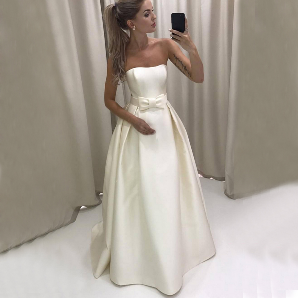 Charming White Stain Long Wedding Party Gown 2019 Strapless With Bow Maid Of Honor Dress Custom Made Bridesmaid Dresses Cheap gown