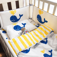 Crib Bumpers 4pcs/set 9 Styles Cotton Baby Bed Bumper Liner Baby Cot Sets Bed Around Protector smile face red heart