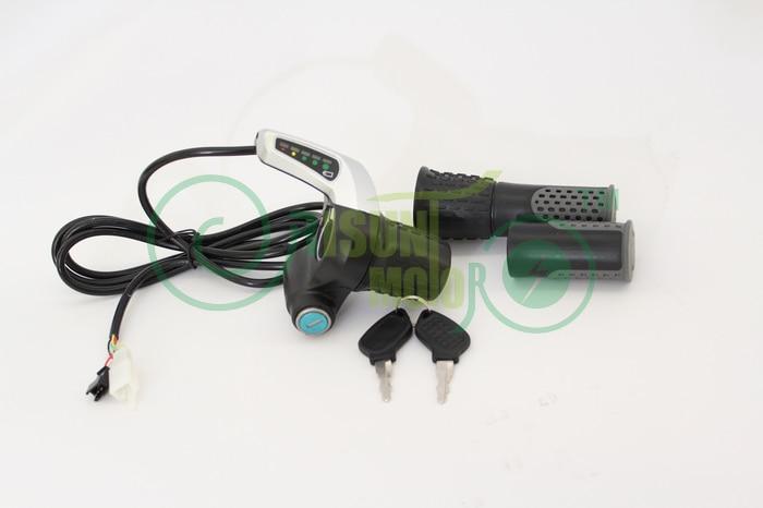 RisunMotor 36//48V Half-Bar Twist Throttle with Electric Key Lock and Power Gauge