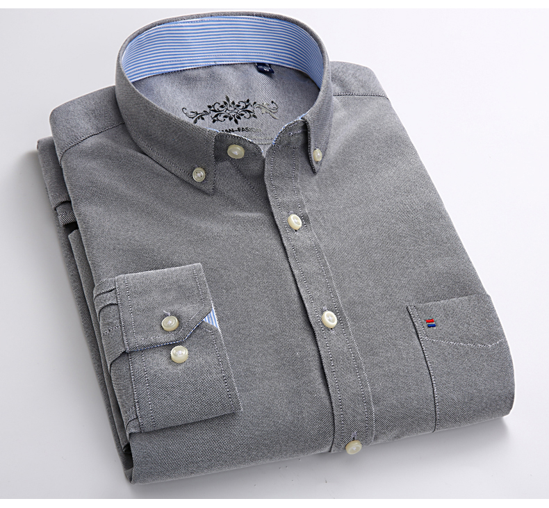 Mens Long Sleeve Solid Oxford Dress Shirt with Left Chest Pocket High-quality Male Casual Regular-fit Tops Button Down Shirts 9